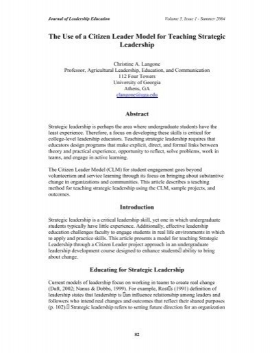 The Use of a Citizen Leader Model for Teaching Strategic