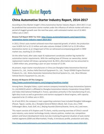 Global China Automotive Starter Market Size, Trends and