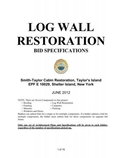 log wall bid package taylor s island shelter island ny