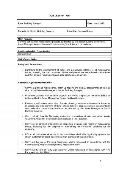 building surveyor 2013 job description