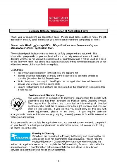 1 guidance notes for completion of application forms thank you