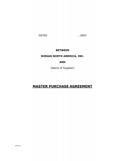 Master Purchase Agreement
