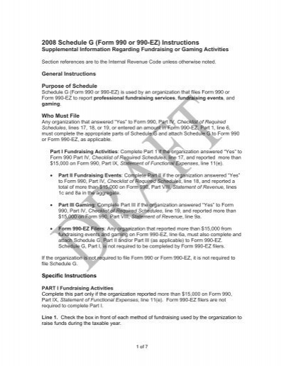 2008 Instructions For Form 990 Schedule G