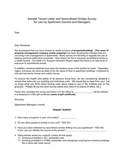 Sample tenant letter and secondhand smoke survey for use by sample tenant letter and secondhand smoke survey for use by spiritdancerdesigns Gallery