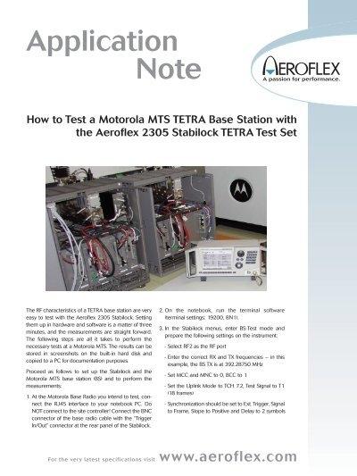 Motorola MTS TETRA Base Station:blankapp qxd qxd - Aeroflex