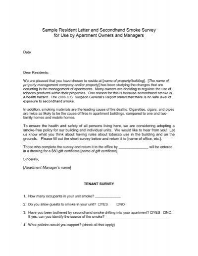 Sample tenant letter and survey spiritdancerdesigns Gallery