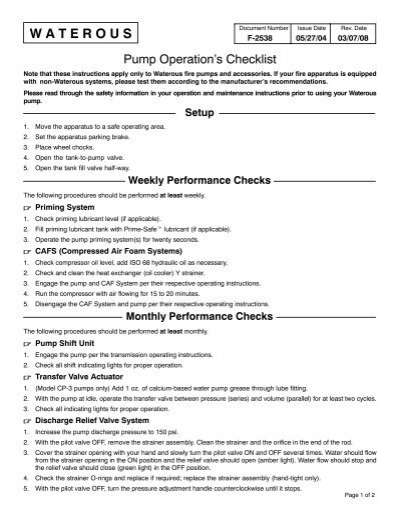 Pump operations checklist waterous ccuart Choice Image
