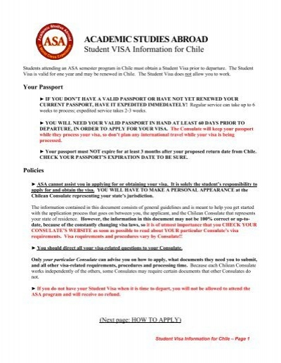 Student Visa Information For Chile Academic Studies Abroad
