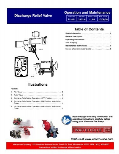 Pump operations checklist waterous sec 2302 6 discharge relief valve operation instructions waterous ccuart Choice Image
