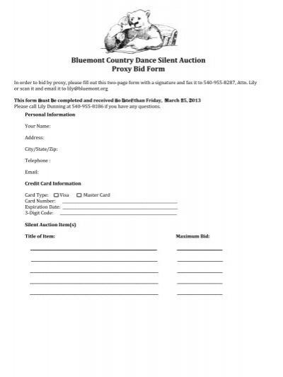 silent auction bidding form
