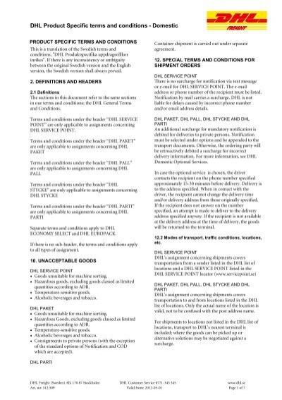 DHL Product Specific terms and conditions - Domestic