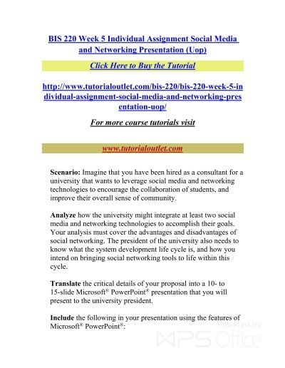 social media and networking presentation bis 220 week 5 Study flashcards on bis220 week 5 individual social media and networking presentation at cramcom quickly memorize the terms, phrases and much more cramcom makes it easy to get the grade you want.