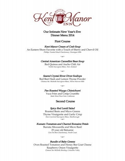 intimate new years eve dinner menu kent manor inn