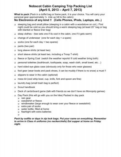 Nobscot Cabin Camping Trip Packing List April 5 2013 AEUR 7