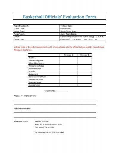 Basketball Officials Evaluation Form