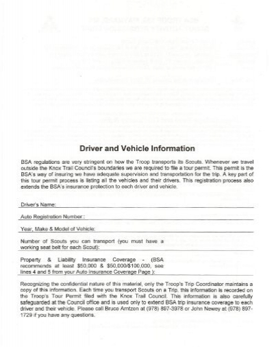 Driver and Vehicle Infor