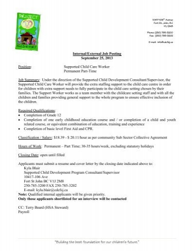 Supported Child Care Worker Job Posting - Sept 2013
