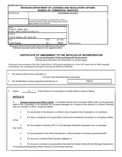 certificate of amendment to the articles of incorporation ...
