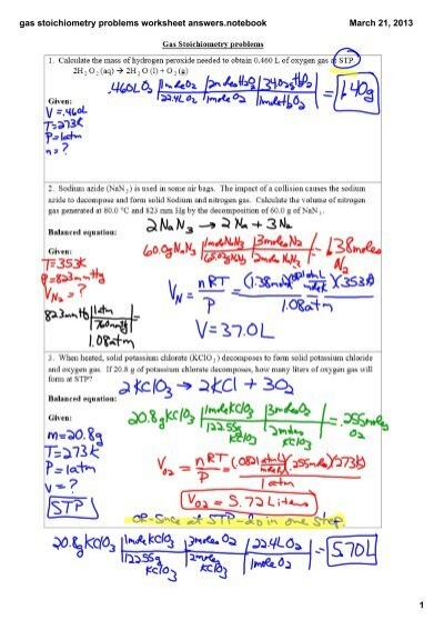 gas stoichiometry problems worksheet answers.notebook