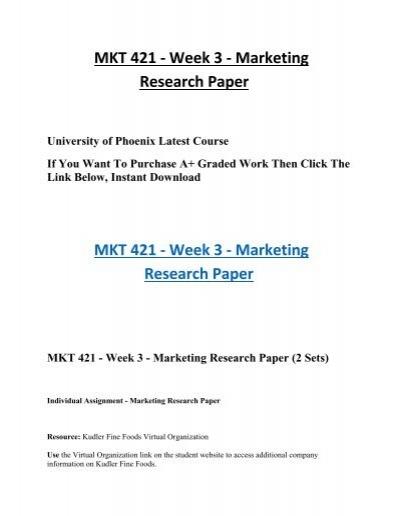 mkt 421 marketing research paper kudler fine foods