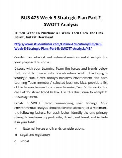 swott analysis table