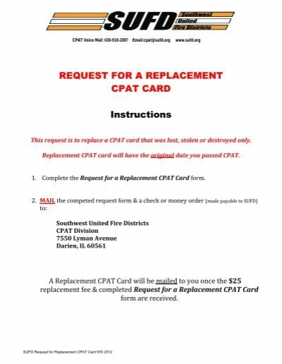 REQUEST FOR A REPLACEMENT CPAT CARD Instructions