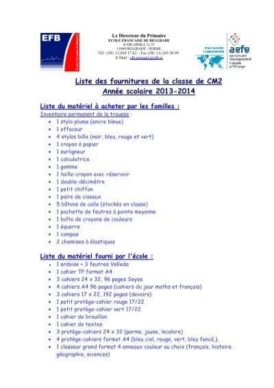 Fournitures Scolaires Cm2 Ecole Française De Belgrade