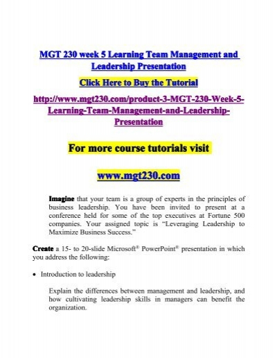 MGT 230 week 5 Learning Team Management and