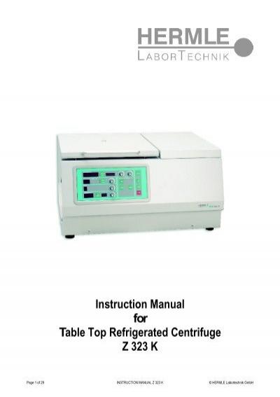 instruction manual for table top refrigerated centrifuge z 323 k rh yumpu com hermle z320 centrifuge service manual Hermle Clock Parts Catalog