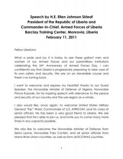 Speech by H E  Ellen Johnson Sirleaf President of the Republic of