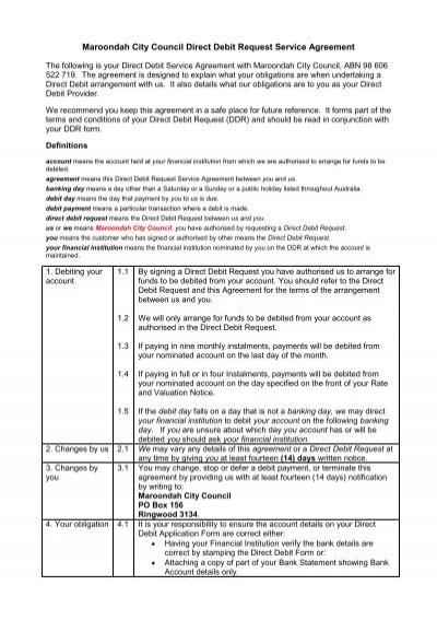 Maroondah City Council Direct Debit Request Service Agreement