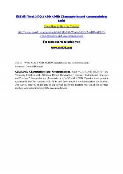 Ese 631 Week 3 Dq 2 Add Adhd Characteristics And Accommodations Ash