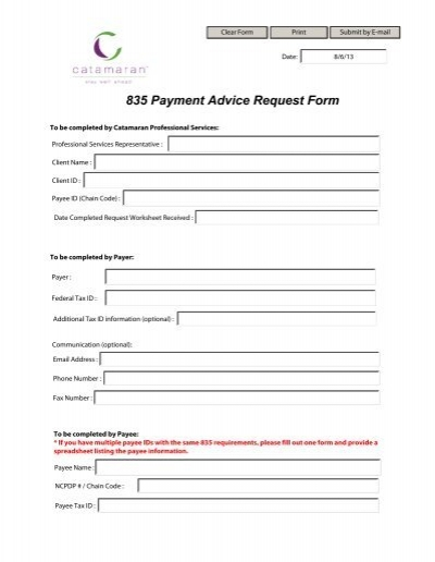835 Payment Advice Request Form - Catamaran