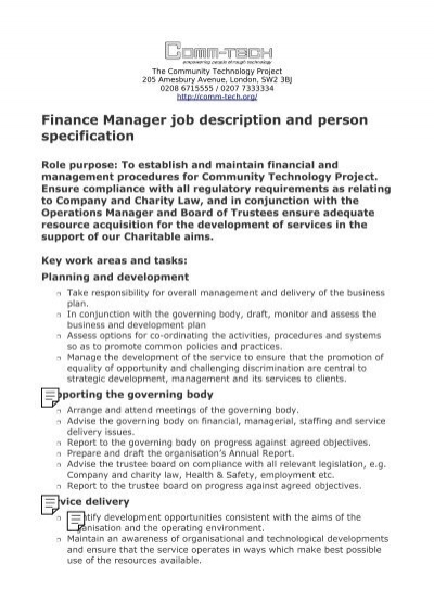 OBIS Finance Manager Job description