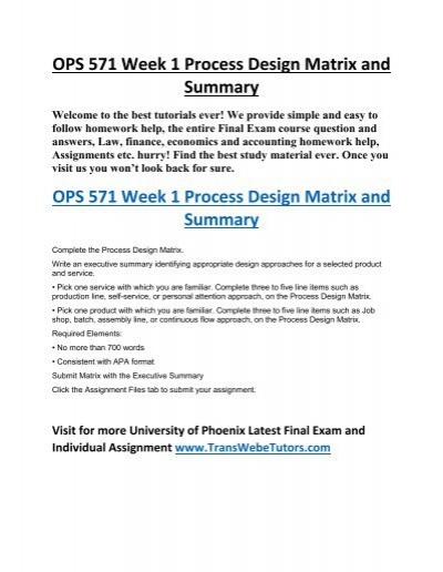 executive summary process design matrix Best ops 571 week 1 process design matrix and summary on uopetutors find client reviews and prices for ops 571 week 1 process design matrix and summary of (uop.