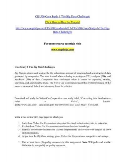 CIS 500 Case Study 1 The Big Data Challenges/uophelp