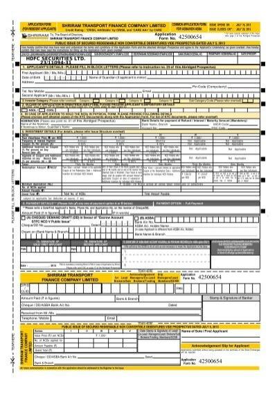 APPLICANT'S UNDERTAKING SHRIRAM TRANSPORT FINANCE COMPANY
