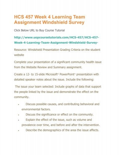 Hcs 457 week 4 learning team assignment windshield surveypdf maxwellsz