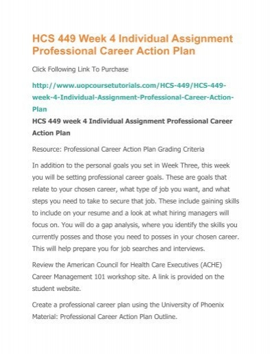 what is a professional career action plan