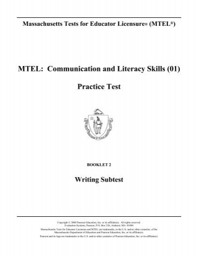 mtel communication and literacy skills (01) practice test