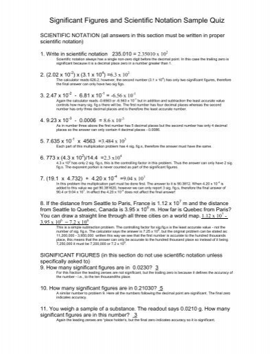Significant Figures And Scientific Notation Sample Quiz