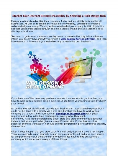 Market Your Internet Business Possibility By Selecting A Web Design Firm Pdf