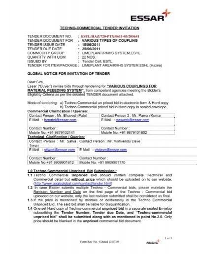 Techno commercial tender invitation tender document no essar stopboris Choice Image