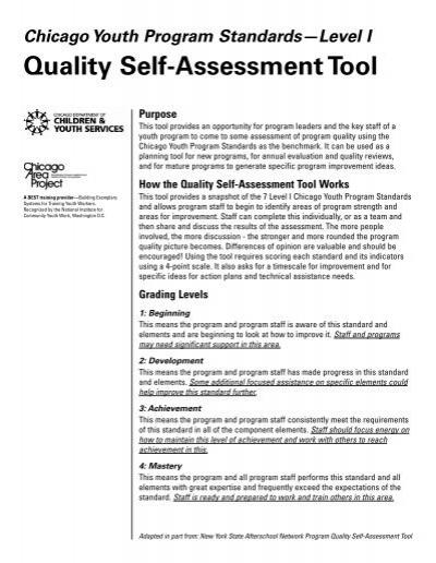 Quality Self-Assessment Tool