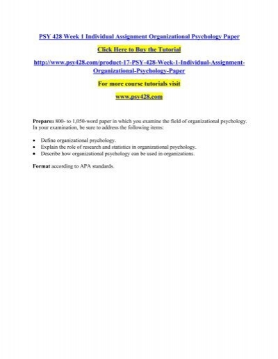 Psy 428 organizational psychology paper popular dissertation results writers for hire