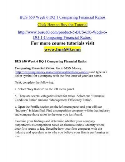 BUS 650 Week 6 DQ 1 Comparing Financial Ratios