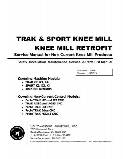 trak sport knee mill knee mill retrofit rh yumpu com