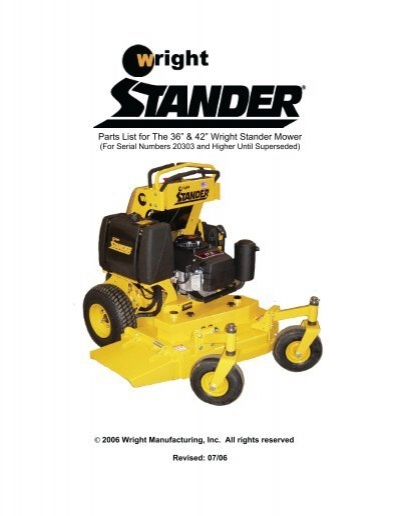 """Parts List for The 36"""" & 42"""" Wright Stander Mower   Wright Stander Mower Wiring Diagram      Yumpu"""
