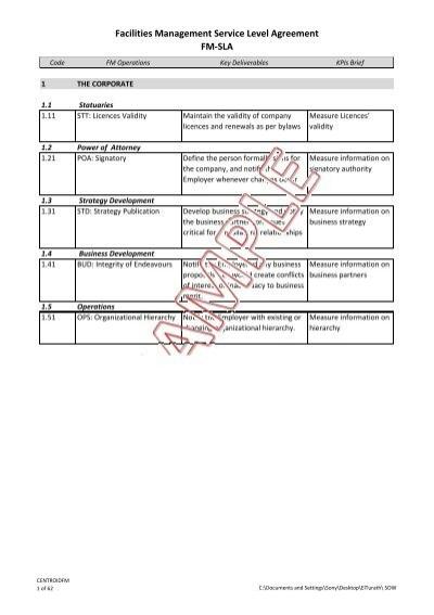 Facilities Management Service Level Agreement Fm Sla