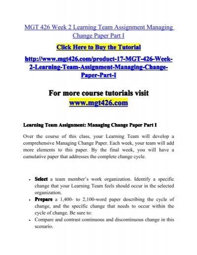 mgt 426 managing change part ii